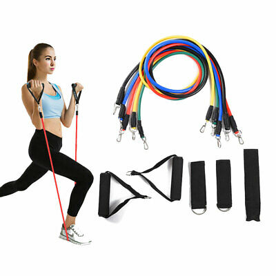 11 Resistance Bands Set Elastic Pull Rope Full Body Waist Arm Training Exercise
