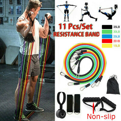 5 Level Resistance Exercise Loop Bands Home Gym Fitness Natural Latex set of 5