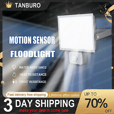 30W LED Floodlight PIR Sensor Motion Security Outdoor Modern Flood Light Lamp UK