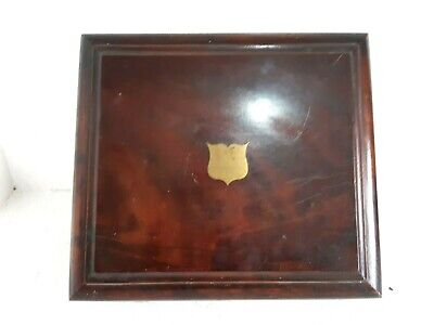 Antique Carved Wooden Brass Silver Cutlery Box Queen Victoria Victorian Mahogany
