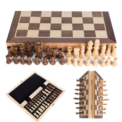 Chess Wooden Set Folding Chessboard Magnetic Pieces Wood Board Large UK New HOT