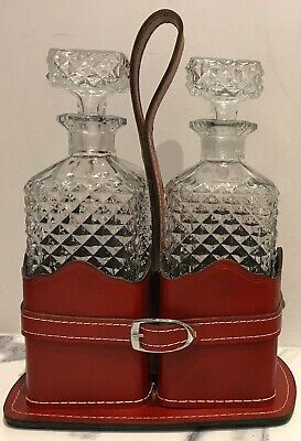 Vintage Twin Crystal Decanter Set With Leather Carrier By Crown Corning