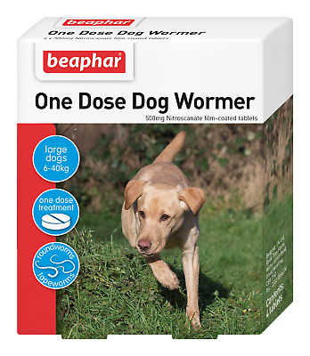 DOG WORMING TABLETS: One Dose Easy Wormer for Med -  Lge  Dogs 6 - 40kg BEAPHAR