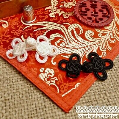Chinese Eastern Style Black Cream White Cord Frog Fastening Closure Trim MA733