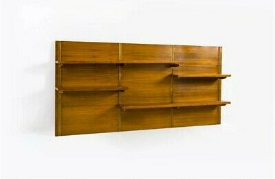 Big Library Suspended Bookcase Wood Brass 1960s Mid Century Shelving Cabinet