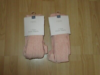 2 Pairs Bnwt Next Age 13-14 Years Pink-Apricot Rib Pattern Tights