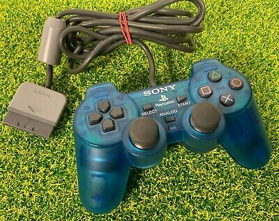 Official Sony PS1 Playstation 1 Analog controller Transparent Blue