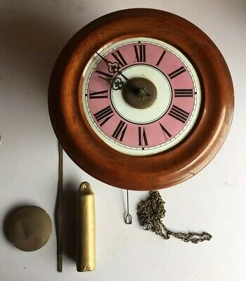 Antique Early 20th Century Postmans Clock Pink Enamel Dial Spares Or Repairs