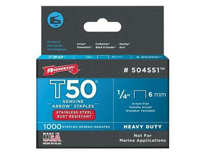 Arrow ARRT5014SS T50 Staples Stainless Steel 504SS 6mm (1/4in) Box 1000