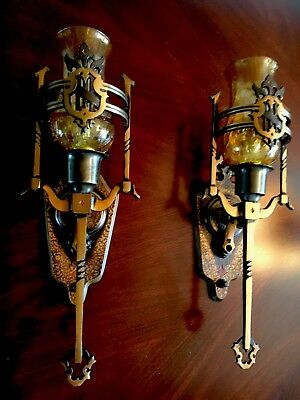 Solid Brass Antique Art Deco Spanish Amber Glass Slip Shades Wall Sconces Pair