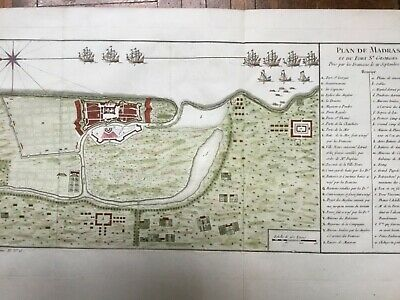 India Madras Chennai 1754, Battle warships fortifications, by Bellin antique map