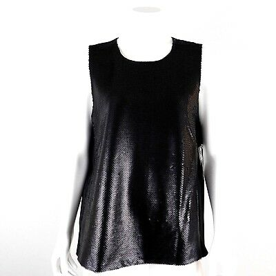 DKNY Womens Matte Black Full Sequin Front Sleeveless Top Size Medium