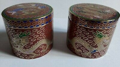 TWO Vintage Antique CHINESE CLOISONNE ENAMEL SNUFF PILL BOX DRAGON DECOR