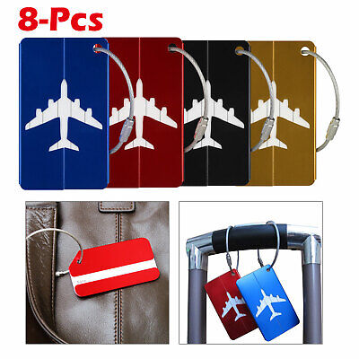 8X Travel Luggage Tags Labels Strap Name Address ID Suitcase Bag Baggage Secure
