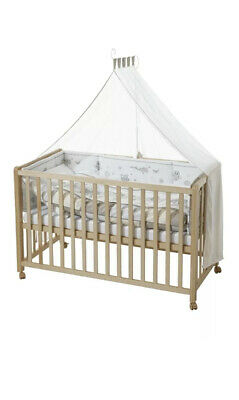 High Quality Wooden Baby Cot Bed Including Mattress, Bedding & More. Made in EU