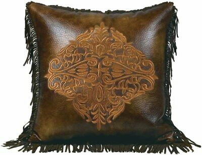Luxury Designer Golden Medallion Western Faux Leather Throw Pillow Fringed 18""