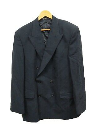 Marks & Spencer NAVY Blue DOUBLE BREASTED Mens WOOL Suit Jacket Blazer Size 44M