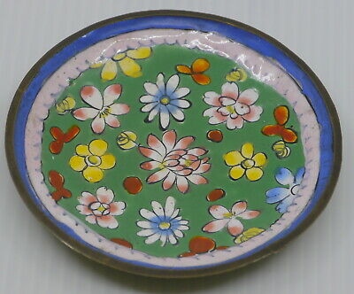 Old Chinese Hand Enameled Metal Pin Dish, Tray, Flower Decoration