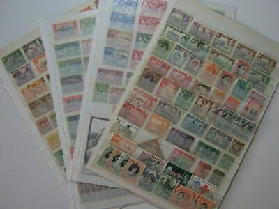 4 Double-Sided Stock Pages of GB Commonwealth Stamps - Used + Unused