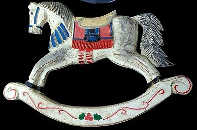 Vintage Carved Wood Christmas Hobby Horse, Rocking Horse Wall Hanging