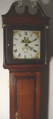 "Antique   Longcase / Grandfather  Clock With A  Painted Dial ""Tiverton "" Maker"