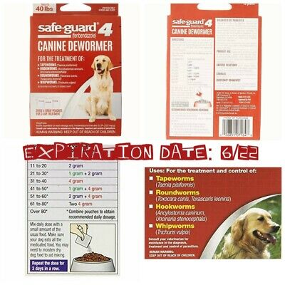 🐶8-In-1 Safe-Guard Canine Dewormer Dogs 3-Day Treatment 40lbs. {Brand New}🐶