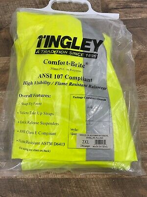 Tingley Comfort Brite High Visibility Flame Resistant Rainwear Overalls 2XL Gear