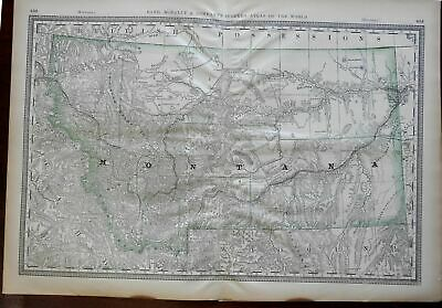 Montana State Map Yellowstone River Rocky Montains Helena 1882 large folio map