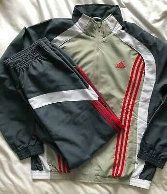 Adidas Mens Full Zip Tracksuit Top & Bottoms. Size XL Grey / White / Red. Used