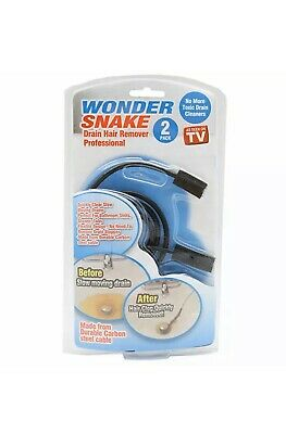 Wonder Snake Drain Hair Remover 2 Pack CLEARS SLOW DRAINS- SHOWER DRAIN FIX