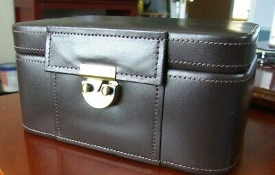 Bombay Company Brown Leather Jewelry / Watch Case / Box