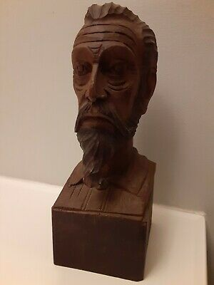 """Ouro Wooden Carving Bust Statue 8.5"""" Spain Carved Wood"""
