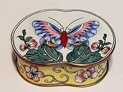 Chinese Cloisonne Rare Shape Trinket Box Butterfly Enamel Canton