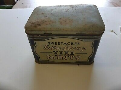 1960's SWEETACRES EXTRA STRONG XXXX MINTS TIN -GOOD CONDITION-COMPLETE-3 LBS
