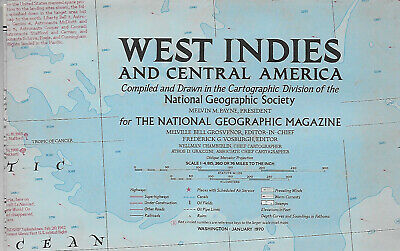 """1970, National Geographic, fold-out map WEST INDIES; 26"""" x 38"""""""