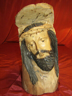 """Vintage Jesus Christ Wooden Hand Carved Thorns Crucifixion Head Bust 15"""" x 8"""""""