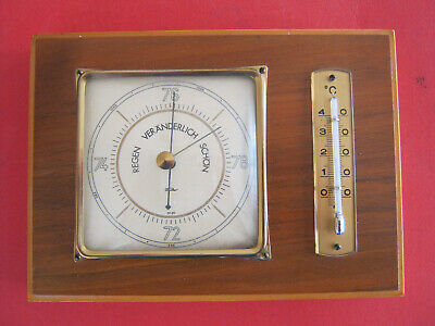 Fischer Barometer und Thermometer Holz Metall Messing? Glas