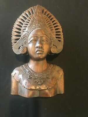 Vintage Carved Hard Wood Bali Bust Lady Balinese Art