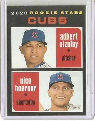 #121 Adbert Alzolay & Nico Hoerner 2020 Topps Heritage RCs - Chicago Cubs