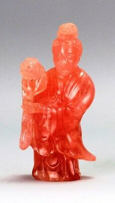 A067  estate Chinese Guanyin carved from rose quartz. 19Th Century