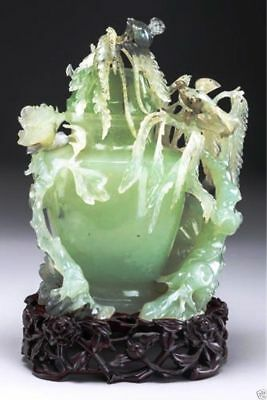 A018  Chinese beautiful Carved Serpentine Covered Urn on Stand,19th/20th Century