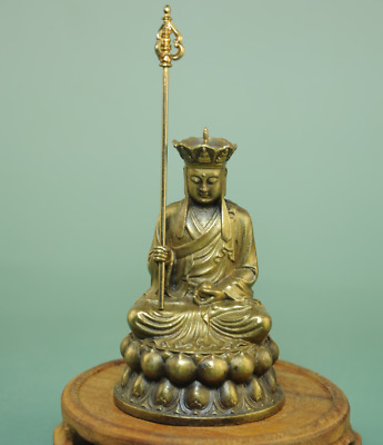 China old hand-made Buddhism Temple Bronze Copper Jizo Ksitigarbha Statue Bb02C