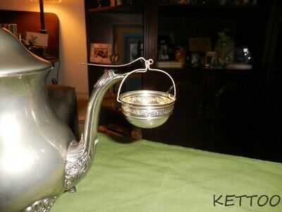 SILVER Antique Victorian Hanging Tea Strainer Basket Stamped Sterling 107