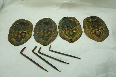 Antique Curtain Tie Backs Lot 4 Oak Leaves Acorns Brass Architectural Salvage