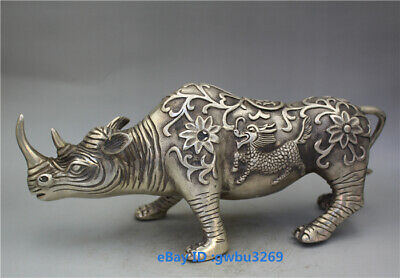 Collection old Tibet silver Handwork carved lucky Rhinoceros Statues