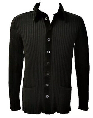 * GIORGIO ARMANI * Black Label Black Knit Cardigan  With Velvet Trim 40/Meidum