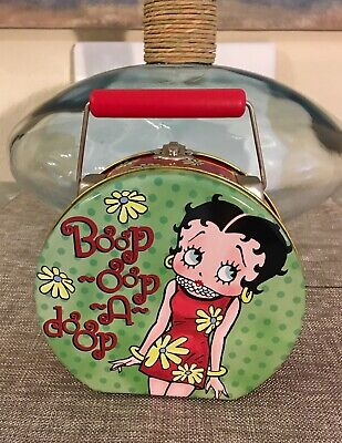 1999 Betty Boop Vintage Tin Metal Box With Red Handle By:King Feature Syndicates