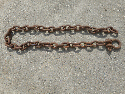 "Antique Iron Logging Tow Chain 6 Ft Long 2.5"" Links Large 4x3 D Ring Bow Shackle"