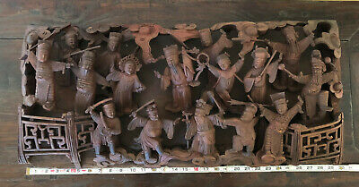 Antique Chinese Carved Wood Camphor Qing Period Fujian Tao Immortal Pediment