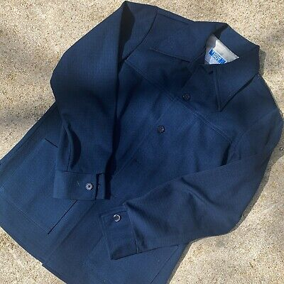 Vintage 1970s Navy Blue Time Out by FARAH Leisure Suit Shirt / Jacket Top Only